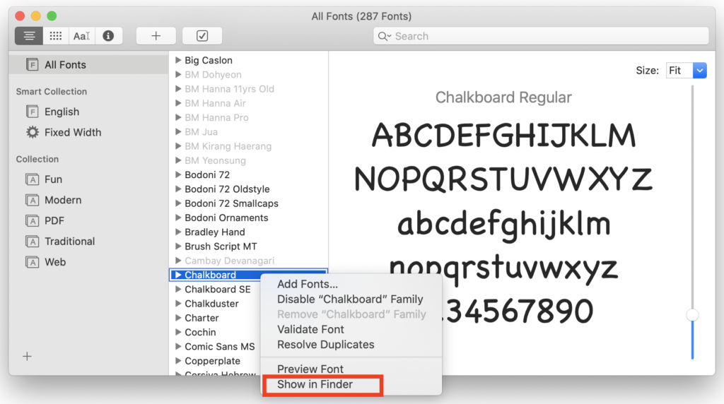 Font Book application on macOS