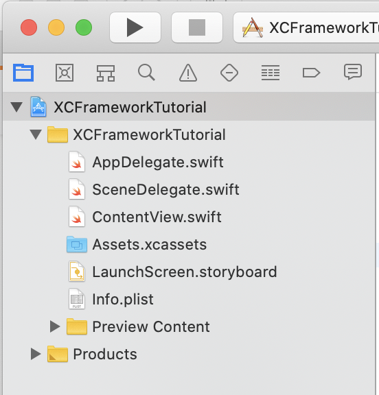 Project navigator without Frameworks folder