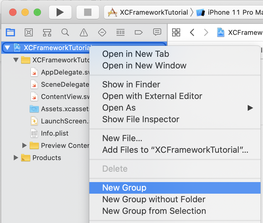 Create new group in Xcode