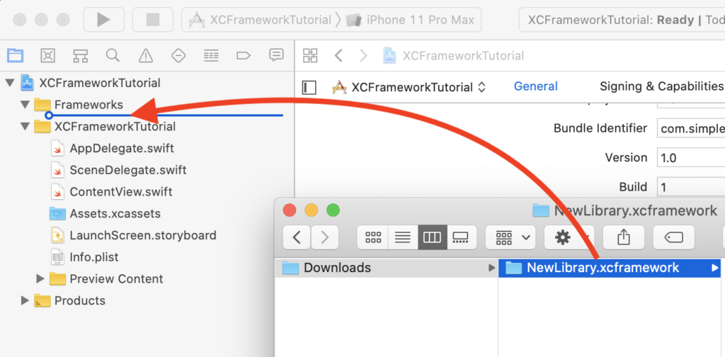 Drag and drop XCFramework to Xcode project