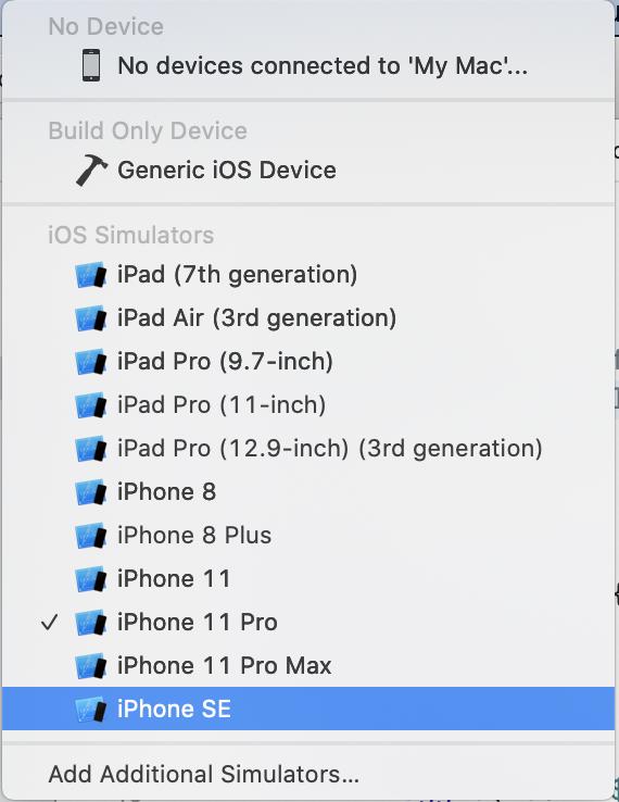 iPhone SE in list of simulators